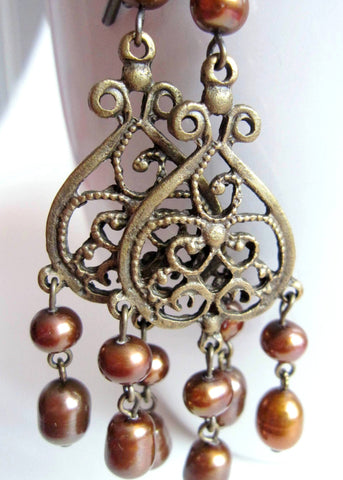 Vintage Bohemian Golden Pearl Chandelier Earrings-Long Gold Pearl & Antiqued Brass