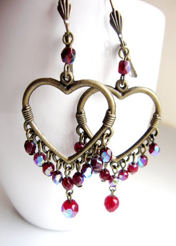 Garnet Sparkle Chandelier Heart Statement Earrings-Handcrafted Vintage Inspired Bohemian Earrings