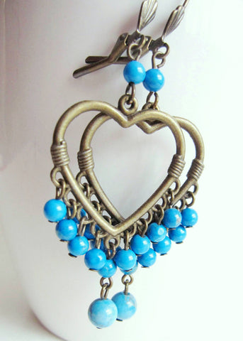 Turquoise Heart Statement Chandelier Earrings, Long Heart Hoop Earrings, Antiqued Brass, Turquoise Howlite