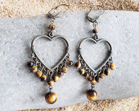 Tigers Eye Heart Hoop Chandelier Earrings, Large Heart Hoops, Long Chandeliers, Tiger Eye Stones