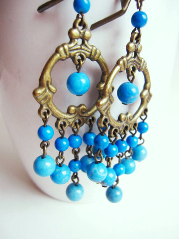 Long Turquoise Chandelier Statement Earrings, OOAK Vintage Inspired Chandelier Earrings, Blue Earrings, Turquoise Jewelry, Vegan Friendly
