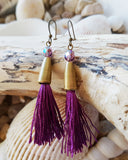 Purple Tassel Bohemian Earrings, Long Silk Tassel Earrings with Sparkly Czech Fire Polished Glass & Antiqued Brass