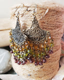 Long Gypsy Boho Chandelier Earrings-Mauve-Gold-Peridot Green-Beaded Chandelier Earrings