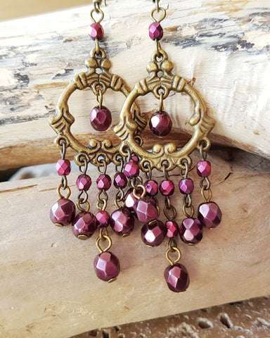 Long Garnet Sparkle Chandelier Earrings-Handcrafted-Deep Red-Burgundy Antique Style Statement Earrings, Bohemian-Fair Trade-Ethical-Vegan Friendly