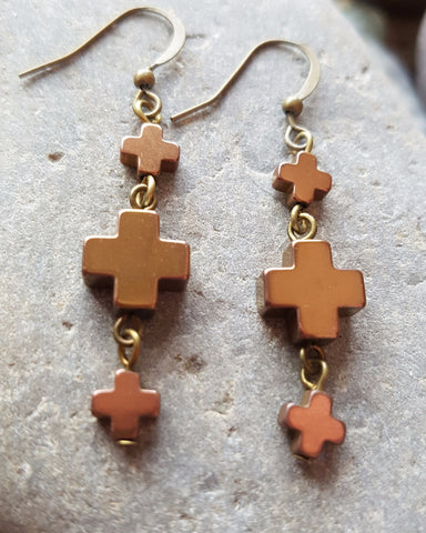 Bronze Positive Affirmation Earrings-Bronze Hematite Positive Symbol Stones