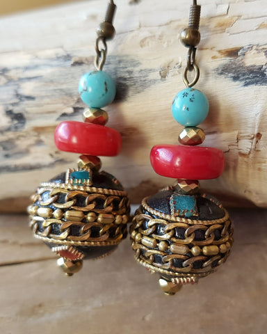 Tribal Dance Turquoise and Coral Earrings, Handmade-Tibet Nepalese Beads-Coral-Turquoise, Hematite-Bohemian Earrings-Fair Trade-Vegan Friendly-Multi Color
