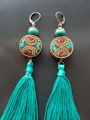 Long Turquoise Tibetan Tassel Earrings-Handcrafted-Long Turquoise Tassel Earrings with Handmade Nepalese Tibet style beads and Turquoise Howlite