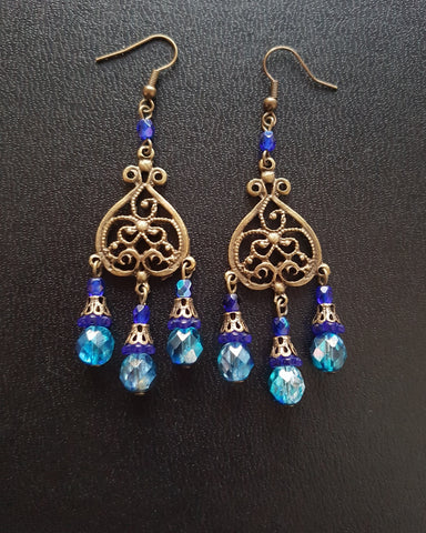 Long Blue Vintage Bohemian Brass Chandelier Earrings
