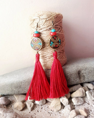 Long Red Tibetan Tassel Earrings
