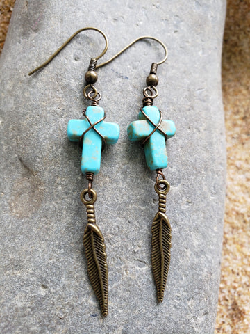 Turquoise Cross Feather Earrings, Long Bronze Cross Earrings,