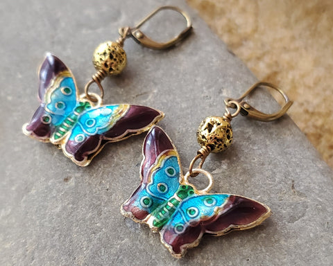 Enamel Butterfly Gold Lava Stone Earrings, Butterfly Earrings, Cloisonne Butterfly, Lava Stone