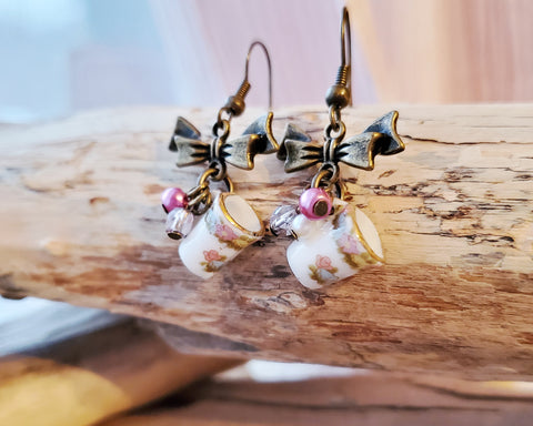 Vintage Romance Coffee Cup Bow Earrings, Decorative Tiny Porcelain Coffee Cups with Antique Brass Bows, Tiny pearls & Beads