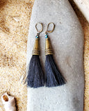 Long Black Tassel Earrings, Art Deco Inspired Tassel Earrings, Upcycled, Repurposed Fibres