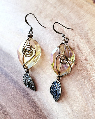 Brilliant Boho Crystal Leaf Earrings