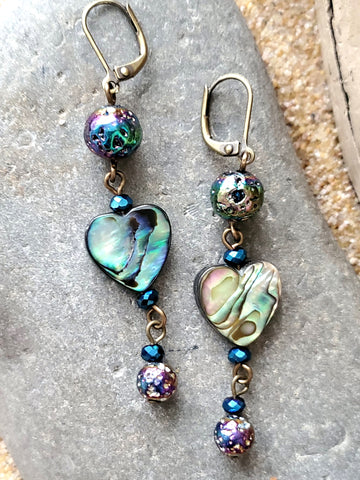 Long Titanium Lava Stone Abalone Heart Earrings, Abalone Earrings, Heart Earrings,