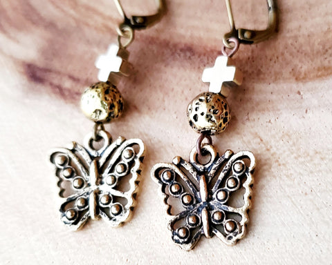 Transformation Butterfly Cross Lava Stone Earrings,  Gold Butterfly Earrings, Cross, Lava Stone, Hematite