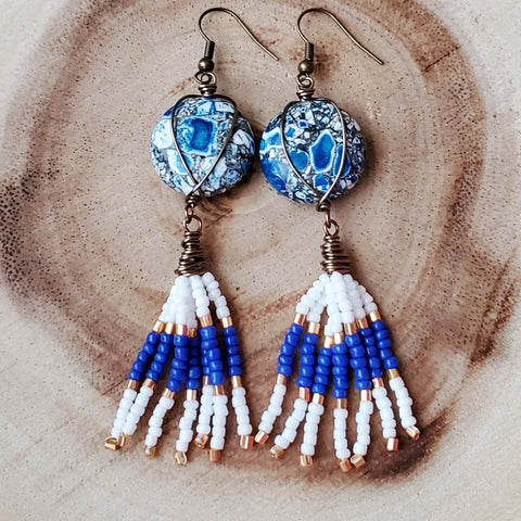 Bohemian Tassel Sky Cloud Earrings, Long Blue White Beaded Tassel Earrings