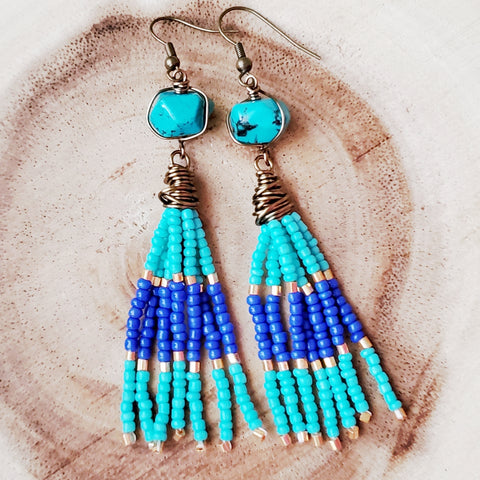 Long Beaded Turquoise Tassel Egyptian Inspired Earrings, One of a Kind Beaded Tassel Earrings