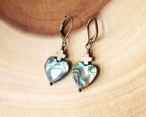 Sacred Heart Abalone Cross Earrings, Antique Style Christian Earrings, Genuine Abalone