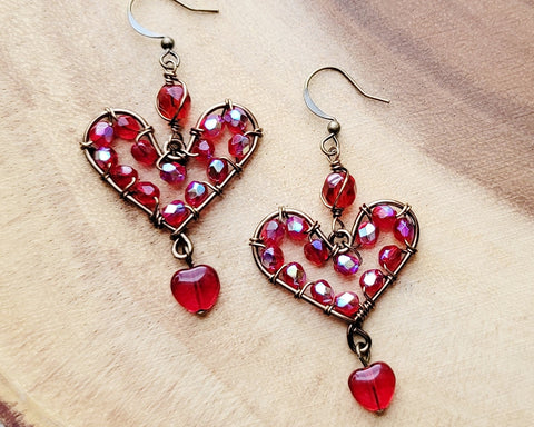 Brilliant Red Heart Earrings, Long Chandelier style Large, sparkly Red Heart Earrings