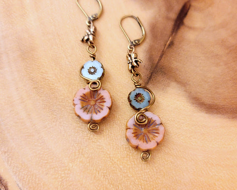 Romantic Dragonfly Flower Earrings, Czech Glass Flowers, Antiqued Gold Dragonfly, Antiqued Brass