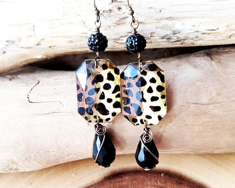 Wild and Fun Leopard and Vintage Black Crystal Earrings Handmade with Upcycled Vintage and New Crystal, Repurposed Leopard rhinestones
