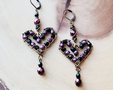 Plum Purple and Black Sparkle Heart Earrings