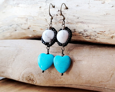 Turquoise Heart and natural white Howlite accented with tiny black seed beads