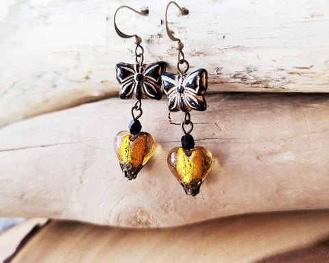Victorian inspired Butterfly Heart Earrings, Black Czech Glass Butterflies & Gold Foil Glass Hearts