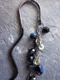 Midnight Aurora Borealis Sparkle Gun Metal Bookmark-Black AB Czech Fire Polished Glass Beads-Long Beaded Dangles-Shiny Black Metal