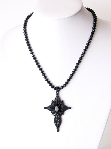 Victorian Black Crystal Cross Statement Necklace, Black Victorian Style Crystal Encrusted Cross on Stream of Crystal Beads