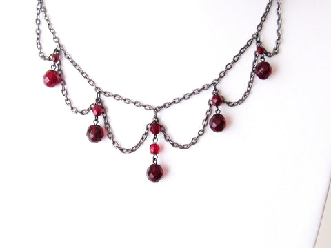 Victorian Garnet Sparkle Festoon Necklace-Handcrafted- Vintage Inspired-Garnet Red Czech Fire Polished Glass-Black Metal