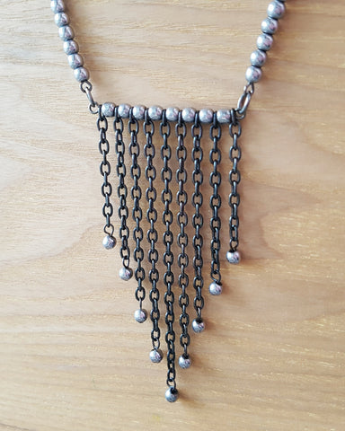 Bohemian Hematite Fringe Necklace-Handcrafted-Grey Gemstone-Gun Metal-Hematite Necklace