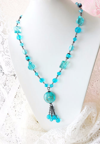 Eco Aqua Blue Glass Tassel Necklace & Earring Set-Vintage Bohemian-Vintage Aqua Blue Glass-Black Metal-Long Tassel