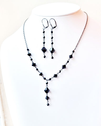 Victorian Inspired Black Y style Necklace and Earring Set, Vintage Black Crystal, Long Dangle Earrings