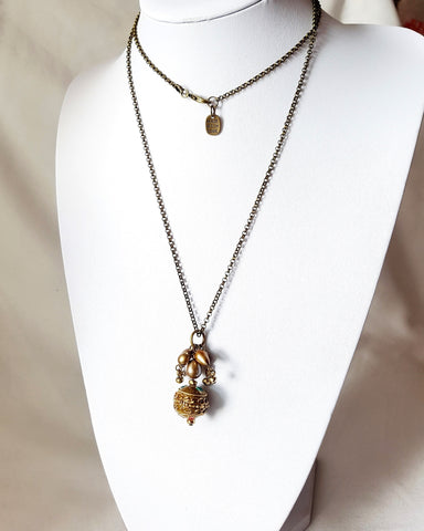Long Tibetan Pearl Cluster Pendant Necklace-OOAK Necklace-Nepalese Tibetan Bead-Gold Freshwater Cultured Pearls