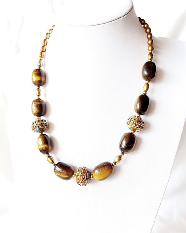 Tibetan Tiger Necklace, Nepalese Tibetan Beads, Large Tigers Eye, Gold Freshwater Cultured Pearls, Antiqued Brass