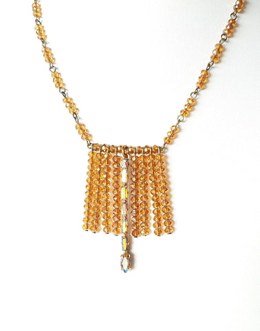 Golden Passion Fringe Necklace-OOAK, Upcycled Vintage Crystal, Gold, Amber Crystal, Vintage Bohemian, November Birthstone