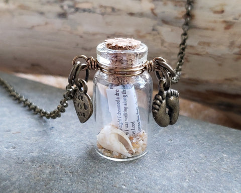 Foot Prints in the Sand, Message in a Bottle Necklace, Handmade Pendant with Poem, Shell and Sand in a Wire Wrapped Corked Glass Vial. Antiqued Brass Finished Chain & Wire.