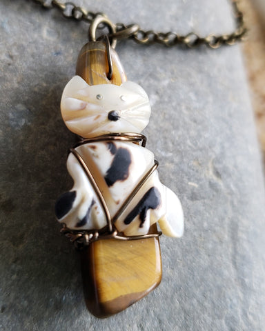 Tiger Cat Necklace made with and Up cycled Vintage Carved Shell Cat on a Genuine Tigers Eye Stone