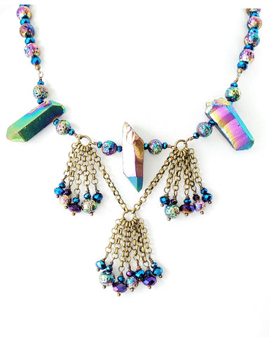 Titanium Crystal Festoon Tassel Necklace Earring Set