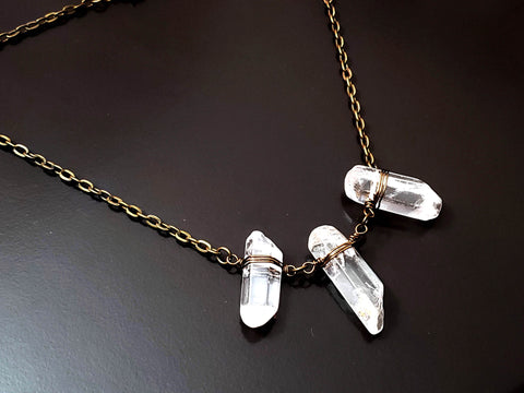 Crystal Clear Joy Necklace, Three Clear Quartz Crystals