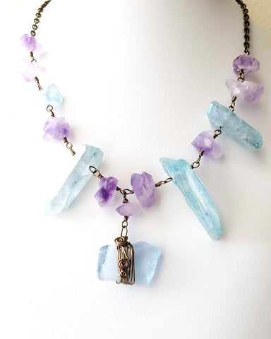 Amethyst & Aqua Aurora Quartz Beach Glass Necklace, Aqua Aurora, Amethyst Crystal, Blue Beach Glass