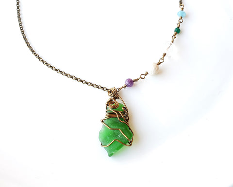 Beach Revitalized Necklace, Wire Wrapped Beach Glass, Lava Stone, Blue Jade, Green Agate, Clear Rock Crystal Quartz, Amethyst