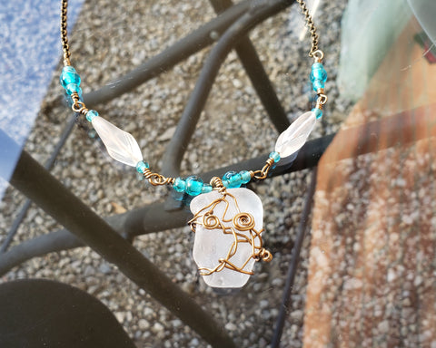 Life Giving Water Necklace, Clear Beach Glass, Turquoise blue and Clear Glass, Wire Wrapped with Antique brass