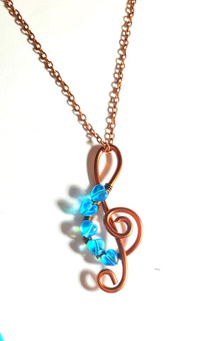 I Love the Blues Treble Cleft Blue Heart Pendant Necklace, Five Tiny Aqua Blue Glass Hearts and an Antique Copper Treble Cleft Pendant on chain
