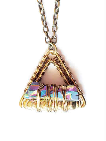 Level Titanium Crystal Triangle Pendant, Titanium Quartz Crystal wire wrapped to Upcycled Gold Tone Metal, Long Chain