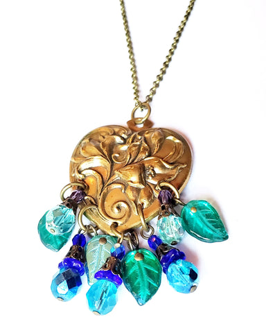 Vintage Romance Floral Heart Necklace, Upcycled Vintage Heart Pendant with sparkly green and blue  Czech Glass Leaves and Flowers