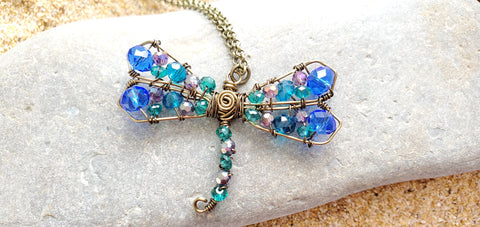 Dragonfly Brilliance Pendant Necklace, Crystal Dragonfly, OOAK, Blue, Green, Mauve, Large Dragonfly Necklace