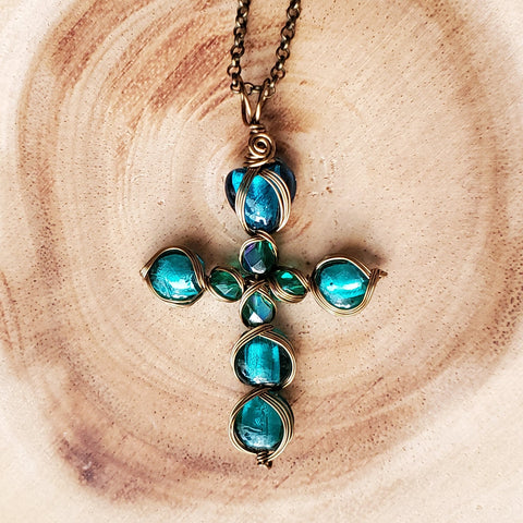 Luminous Teal Foil Glass Cross Pendant Necklace